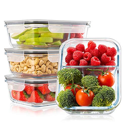 4-er Set Frischhaltedosen Glas Aufbewahrungsbox Auslaufsicher Lunchbox, 2 Luftdichte Fächer, Größe XL 1040...