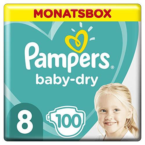 Pampers Baby-Dry Windeln, Gr. 8, 17kg+, Monatsbox (1 x 100 Windeln)