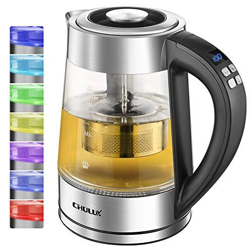 Glas Wasserkocher,CHULUX 1.7L Wasserkocher Glas Edelstahl Elektrischer Wasserkessel,Teekocher,BPA FREI,...