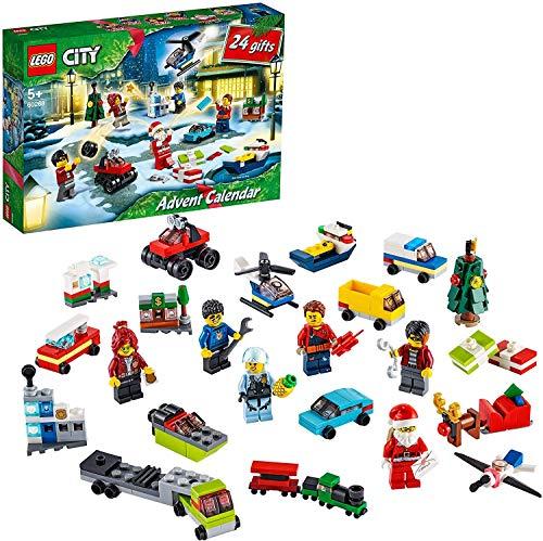 LEGO 60268 City Adventskalender 2020 Weihnachten Mini Bauset mit Kleinstfahrzeugen, Santa Schlitten und Board,...