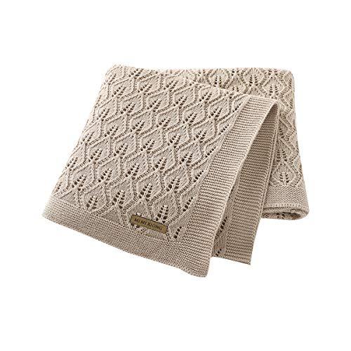 mimixiong 100% Baumwolle Babydecke/Kuscheldecke/Strickdecke,100 cm x 80 cm(Beige)