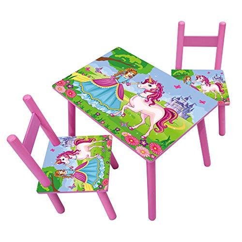 HTI-Line Kindertischgruppe Einhorn Kindermöbel Kinderstuhl Kindersitzgruppe Holzsitzgruppe Kindertisch mit 2...