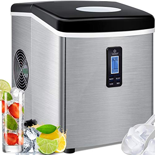 KESSER® Eiswürfelbereiter | Eiswürfelmaschine Edelstahl | 150W Ice Maker | 15 kg 24 h | 3 Würfelgrößen |...