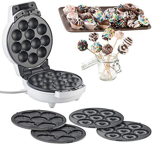 Rosenstein & Söhne Donutmaker: 3in1-Donut-, Cupcake- und Cakepop-Maker, antihaftbeschichtet, 600 Watt...