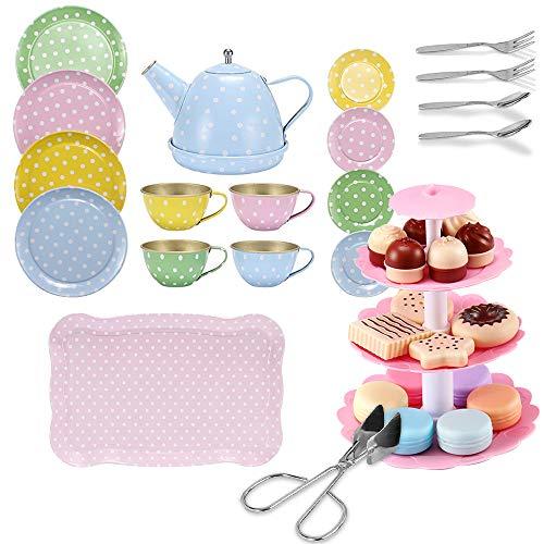 FUQUN Afternoon Tea Party Teaset - Metall-Teeservice für Kinder - Rollenspiel-Kekse, illustriertes buntes...