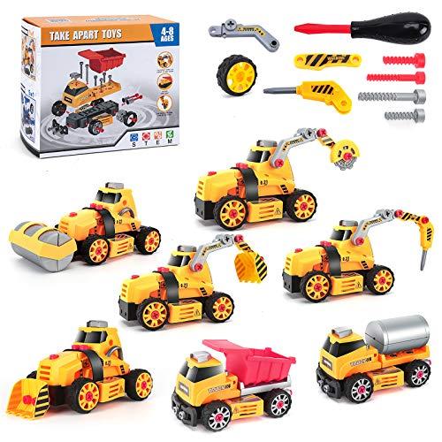 Lekebaby 7-in-1 Auto Montage Spielzeug DIY Auto Spielzeug für 4 5 6 7 8-jährige Jungen Mädchen, STEM...