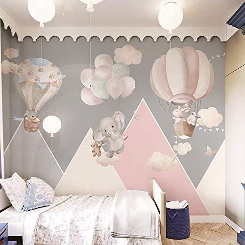 Graue Kinderzimmer Tapete Mädchen Schlafzimmer Cartoon Tapete Heißluftballon Kindergarten Junge Zimmer...