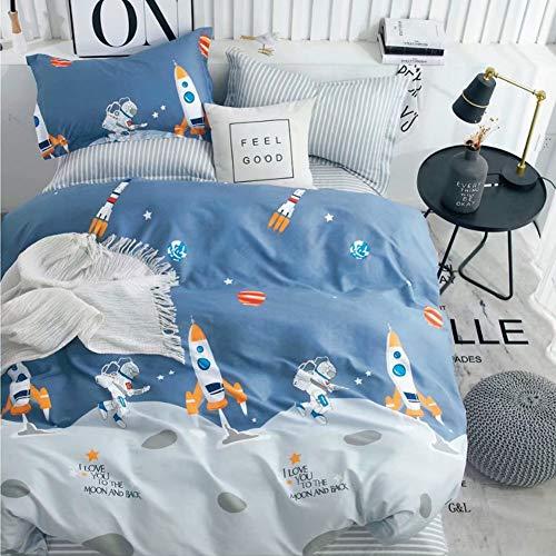 Kinderbettwäsche 135x200 Bettwäsche für Kinder Jungen mit Astronaut und Rakete Muster 100% Baumwolle...