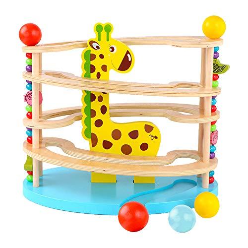 BeebeeRun Spielzeug aus Holz für Kleinkinder,Kugelbahn aus Holz ,Murmelbahn mit 3 Kugels,Premium...