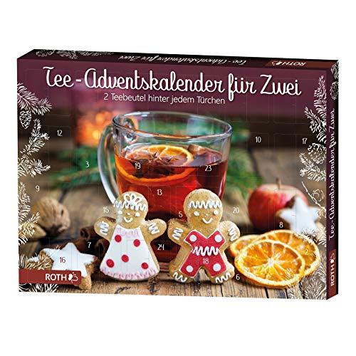 ROTH Tee-Adventskalender für Zwei gefüllt mit 2x24Teebeuteln, Teegenuss-Kalender für die Vorweihnachtszeit
