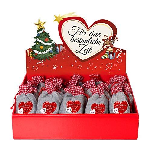 24 Adventskalender Säckchen (12 x 20 cm) aus Filz mit 24 Gründen 'Ich liebe Dich, weil ...' - (für...