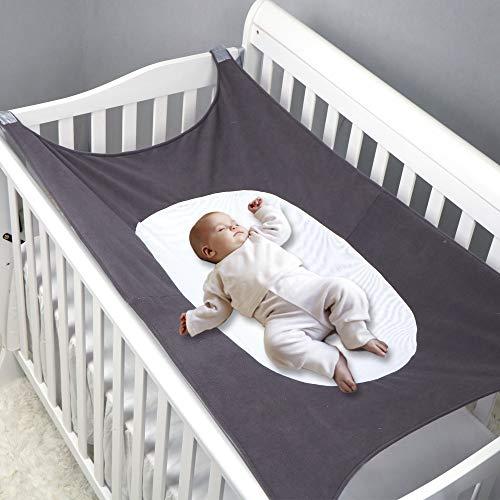MQUPIN Baby-Hängematte für Babybett, erweitertes Design mit 4 stabilen Sicherheitsschnallen, atmungsaktiv,...
