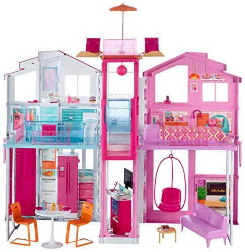 Barbie DLY32 - 3 Etagen Stadthaus Puppenhaus mit 4 Zimmer, Aufzug und Zubehör, ca. 75 cm hoch, Mädchen...