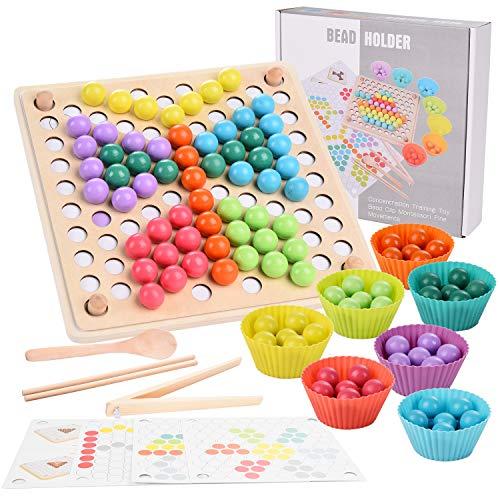 Herefun Holz Clip Perlen Spiel Puzzle Board, Holz Clip Beads Brettspiel, Montessori Pädagogisches...