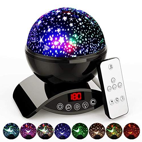 Amouhom Sternenhimmel Projektor Lampe mit Fernbedienung, LED Nachtlicht mit Wiederaufladbare Batterie 360...