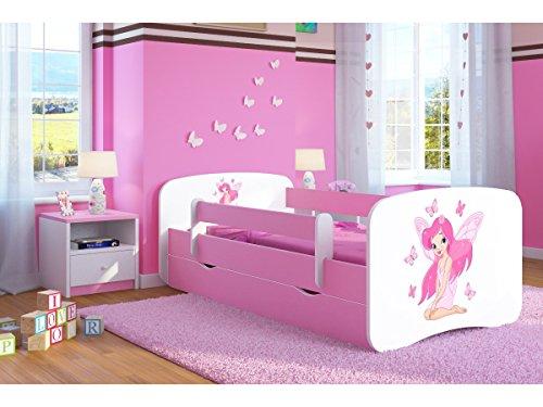 Bjird Kinderbett Jugendbett 70x140 80x160 80x180 Rosa mit Rausfallschutz Schublade und Lattenrost Kinderbetten...
