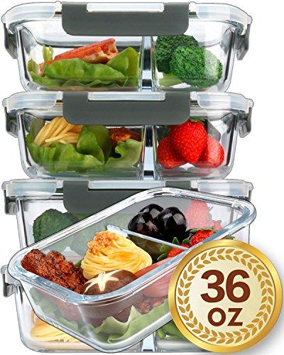 MCIRCO Original Premium Glas Frischhaltedosen Set - Meal Prep Container, 5 x 1040 ml, Besonderheit 2 Kammern