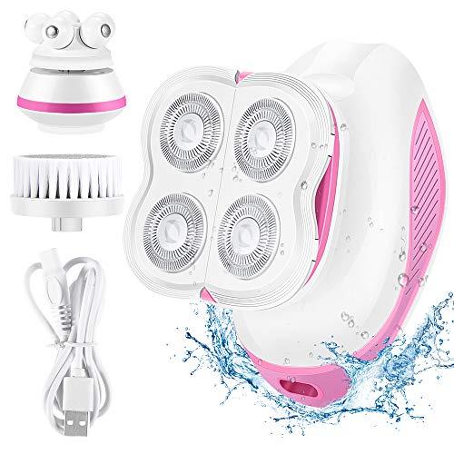 3 in 1 Elektrischer Rasierer Damen, System massagegerät Gesicht, Gesichtsbürste Reinigung für Bein Gesicht...