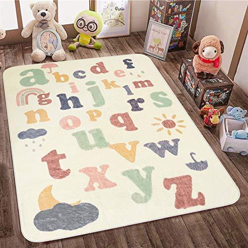 SHACOS Babymatte Spielmatte Faltbar Baby Teppich Baumwolle Beige Krabbelunterlage Buchstaben Spielteppich...