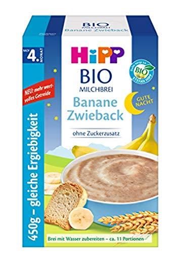 Hipp Bio-Milchbreie ohne Zuckerzusatz-Vorratspackung, nach dem 4. Monat, Gute-Nacht-Brei Banane Zwieback, 4er...