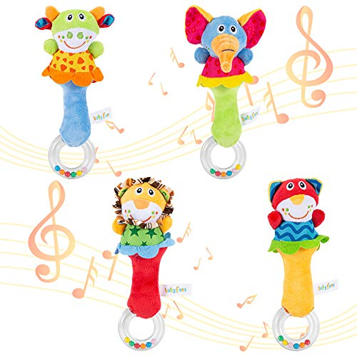 ThinkMax Baby Rattles, 4 Stück Soft Hand Rassel Shaker Spielzeug für Kleinkinder mit Sound, Developmental...