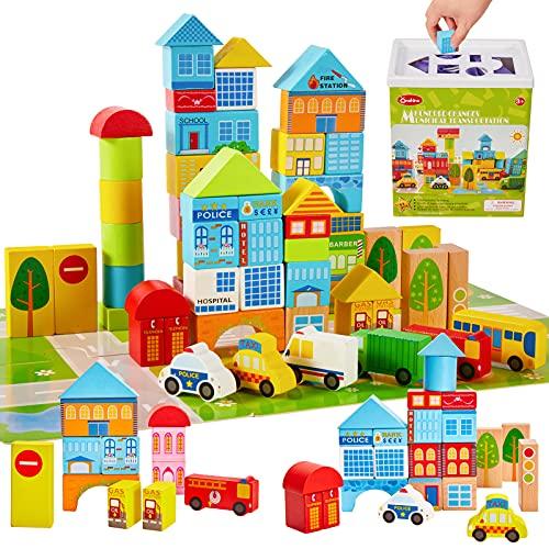 Onshine 62 Teile Bauklötze Bausteine Holz mit Puzzle-Karte und Koffer, Bunte Holzspielzeug Holzbausteine für...