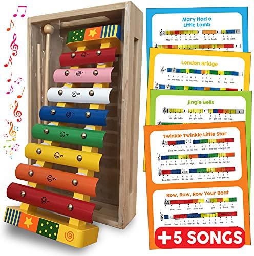 Xylophon Baby und Kinder holz spielzeug, Glockenspiel Percussion Musikinstrument für Kleinkinder mit Musik...