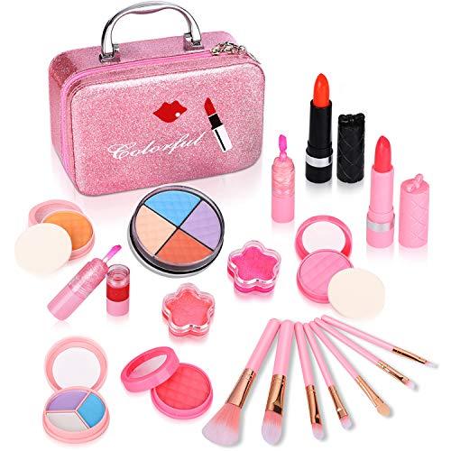ARANEE Kinderschminke Set Schminkkoffer Gefüllt Mädchen Spielzeug Mit Spiegel 21 PCS (Rosa Pinsel)