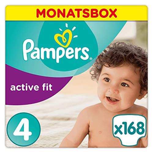 Pampers Active Fit Windeln Monatsbox, Größe 4, 8-16kg, 168 Windeln