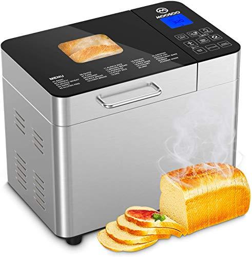 MooSoo Brotbackautomat mit 25 Backprogramme, 3 Backfarben und 3 Brotgrößen, ca. 2L, mit Wärmehaltung,...