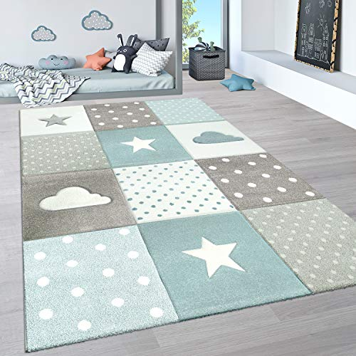 Paco Home Kinderteppich, Kinderzimmer Pastell Teppich mit 3D Wolken u. Stern Motiven, Grösse:80x150 cm,...