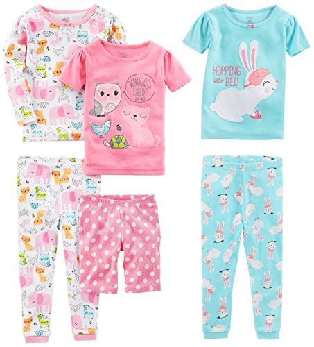 Simple Joys by Carter's Mädchen 6teiliges Pyjama-Set aus Baumwolle mit eng anliegender Passform Schlafanzug...