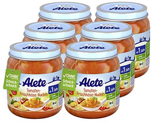 Alete Bio Gläschen Tomaten-Frischkäse-Nudeln, Babynahrung in Bio-Qualität, ohne Zusatz von Aromastoffen &...