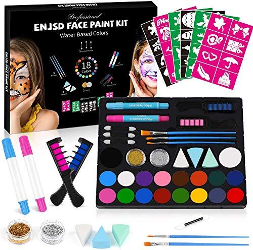 ENJSD Kinderschminke Set Gesichtsfarbe, 18-Farben Gesichtsfarbe Schminkset für Kinder, Body Painting, Ideal...