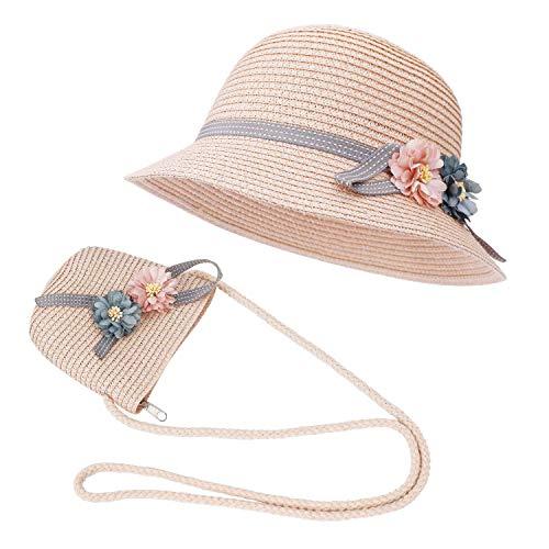 FT-SHOP Strohhut und Kleine Tasche Set Mädchen Kinder Sommer Sonnenhut mit Blumendekoration für den Urlaub...