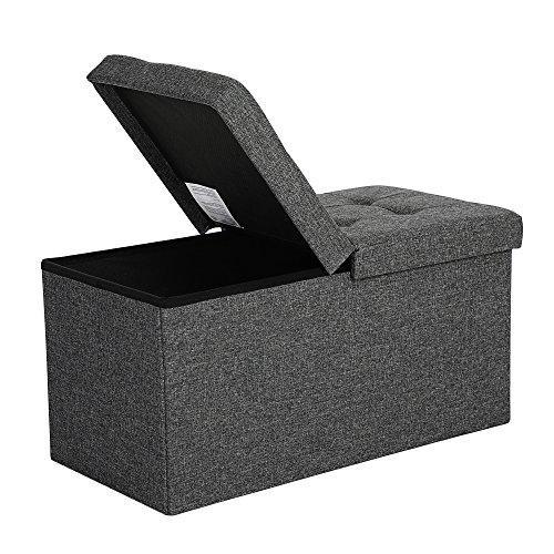 SONGMICS Faltbare Sitzbank 80 L Truhenbank Halbdeckel seitlich klappbar belastbar bis 300 kg 76 x 38 x 38 cm...