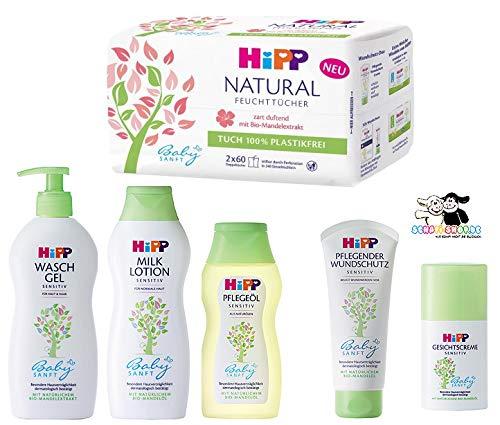 Hipp Baby-Pflegeset bestehend aus: Lotion 350ml, Gesichtscreme 50ml, Wundschutzcreme 100ml, Pflegeöl 200ml,...
