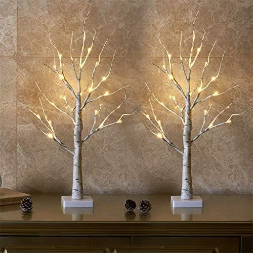 EAMBRITE 2er Set Lichterbaum Lichterzweige für Innen 24 Warmweiß LEDs Bäumchen Birken Dekozweige...