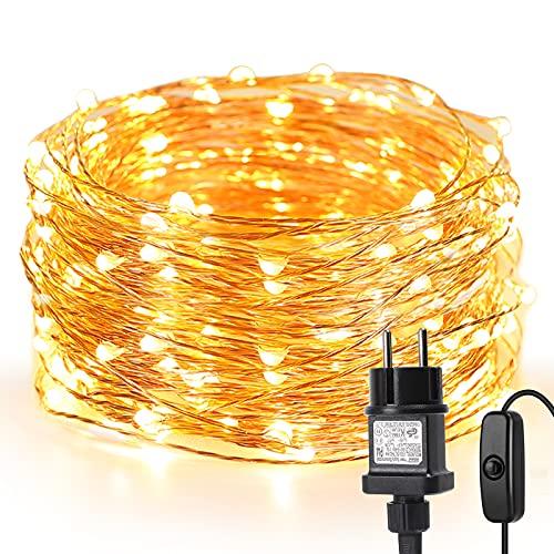 LE 10M LED Lichterkette Draht aus Kupferdraht, 100 LEDs, Wasserdicht IP65, Strombetrieben, ideal...
