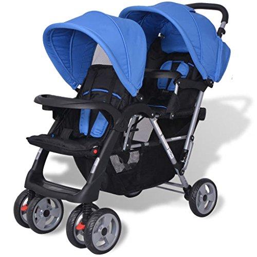 yorten Geschwister Zwillings Kinderwagen aus Stahl und Oxfordgewebe mit Regenschutzhaube für Babys und...