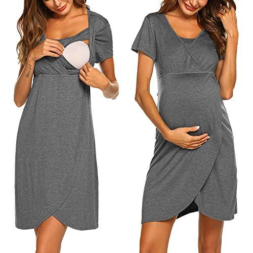 ADOME Nachthemd Damen Lang Stillnachthemd Modal Nachtkleid Umstandskleid Kurzarm Pyjama Negligee mit Taschen...