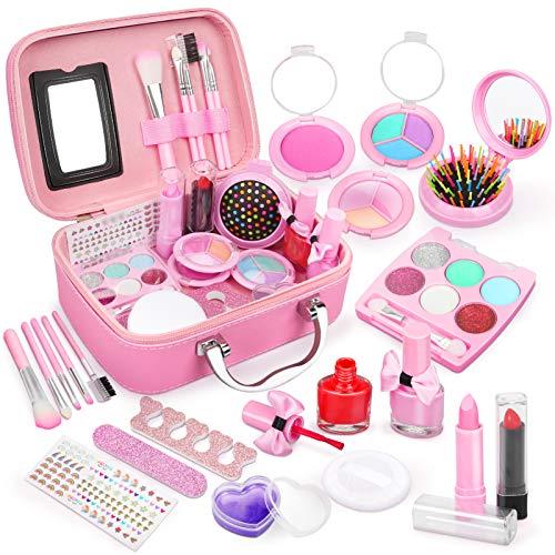 Dreamon Kinderschminke mädchen, Waschbar Make up Spielzeug für Mädchen Kinder Nagellacke mit Koffer für...
