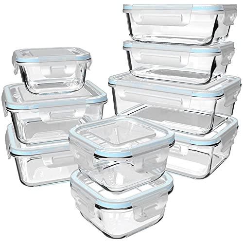 GENICOOK Glas-Frischhaltedose Set/Vorratsdosen Glas mit Deckel/Meal prep...