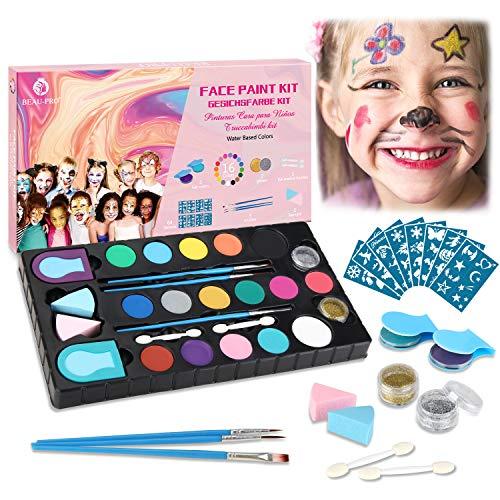 Kinderschminke Set, 16 Professionelle Face paint Schminkfarben Größere Kapazität, 64 Schablonen und 5...