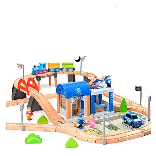 Holzeisenbahn Set Eisenbahn für Kinder / Zug mit Schienen Holzbahn 90 teilig / Polizeistation Polizei /...