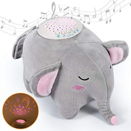 Momcozy Einschlafhilfe für Babys und Erwachsene, Tragbarer Elefant aus Plüsch Baby Spieluhr mit 15...