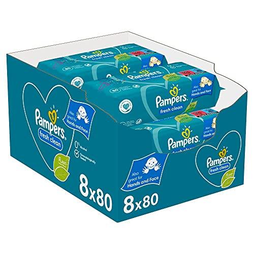 Pampers Fresh Clean Baby Feuchttücher, 640 Tücher (8 x 80) Mit Frischem Duft, Dermatologisch Getestet, Baby...
