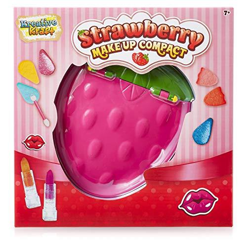 KreativeKraft Schminkkoffer Mädchen, Kinder Schminkset Mädchen, 15 Stück Make-up-Set In Erdbeerform, Kinder...