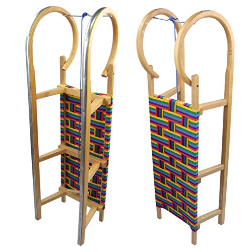 Babys-Dreams BAMBINIWELT Holzschlitten Hörnerrodel mit Zugseil, Sitzfläche aus Kunstfasern im...