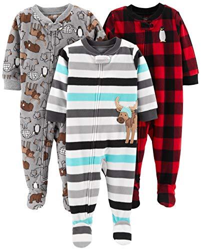 Simple Joys by Carter's Baby und Kleinkind Jungen 3er-Pack Fleece-Schlafanzug ,Arctic Animals/Stripe...